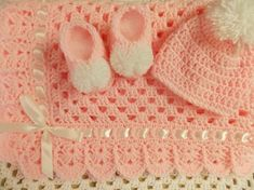 Crochet baby blanket newborn set granny square blanket baby beanie hat booties pink stroller lap afghan girl READY TO SHIP by theshimmeringrose
