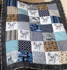 Woodland Deer minky South West baby quilt chevron crib moose