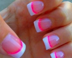 French manicure with hot pink and white tips nail art. #nails #manicure #nailart
