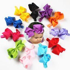 11Pcs/Lot Baby girl big bows hair accessories Infant baby headband Elastic hair bands Hair bows Baby girl headbands HBL32