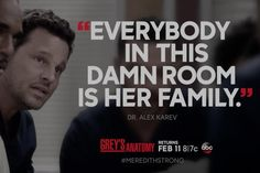 """Everybody in this damn room is her family."" Alex Karev, Grey's Anatomy quotes"