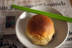 Sometimes, this is all I need: A baked pork bun, a chopstick and the Chronicle (March 6, 2011, San Francisco, CA)