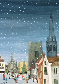 Winter; Snowy; Snowing; West Sussex; Gothic Architecture; Ecclesiastical; Christmas Tree; Festive Season; Crowd; Community; City; Spire; Nocturne; Naive Painting - Chichester Cathedral A Snow Scene by Judy Joel