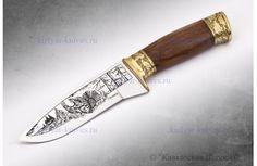 """Туристический нож """"Глухарь"""" - Художественно-оформленный, латунь"""
