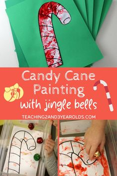 This candy cane craftis pure fun! All you need is the candy cane printable, a small box, paint....and jingle bells! While the final result is cute, it's actually the process that makes this activity so popular. Even our toddlers had fun with it! #candycane #printable #jinglebells #Christmas #holidays #art #paint #finemotor #toddlers #preschool #age2 #age3 #teaching2and3yearolds Christmas Activities For Toddlers, Preschool Christmas Crafts, Toddler Activities, Class Activities, Holiday Crafts, Candy Cane Crafts, Candy Cane Decorations, Glitter Paint Red, Gold Paint