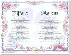 First name meaning on Wedding/Anniversary art background (with 2 first names)