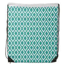 Teal Diamond Pattern Backpacks