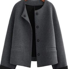 Outerwear - Round Neck Loose Short Jacket Woolen Coat Wild Cardigan Source by giordanitiziana - Winter Coats Women, Coats For Women, Jackets For Women, Clothes For Women, Mode Mantel, Striped Cardigan, Wool Cardigan, Oversized Cardigan, Outerwear Jackets