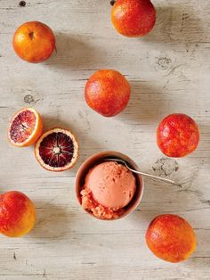 2014. Aug 22. Dinner with the Clongs. Blood Orange Sorbet. Note: More lemon to taste.
