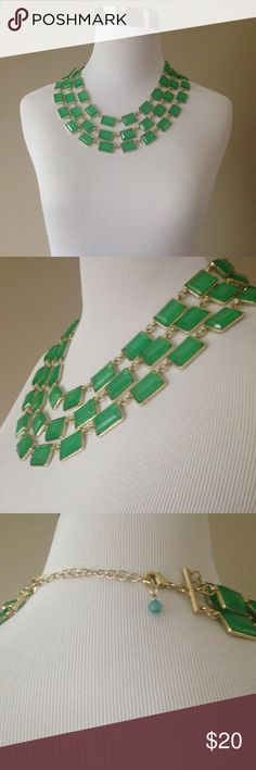 """Multi Strand Necklace Pretty green acrylic beads.  Gold tone metal. Adjustable length, can be worn 17"""" to 20"""". Jewelry Necklaces"""