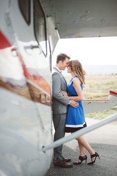 San Diego vintage styled engagement photo shoot idea with a old airplane | Always Flawless Productions | San Diego's Best Wedding Planner