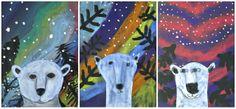 Art Cards Idea: Polar Bears and the northern lights. Artist chalk polar bear on blue, background chalks on black. Trees tempera black and snow tempera white before bears are glued. Winter Art Projects, 4th Grade Art, Ecole Art, Art Lessons Elementary, Bear Art, Art Lesson Plans, Art Classroom, Art Plastique, Art Activities