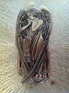"""Faith - Veldany Creations / Angel with Leaves 11""""x14"""" - Pewter"""