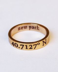 New York Coordinates Ring by mylojewelry on Etsy