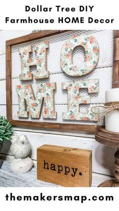 Easy Diy Crafts, Diy Home Crafts, Diy Crafts For Kids, Decor Crafts, Diy Home Decor, Dollar Tree Decor, Dollar Tree Crafts, Dollar Dollar, Dollar Stores