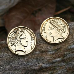 vintage ROMAN COIN earrings ancient round ceasar by mad4modvintage, $15.00