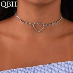 ebd80d6a24f New Fashion Hollow Heart Choker Necklaces For Women Clavicle Colar Heart  Dainty Pendant Heart Choker
