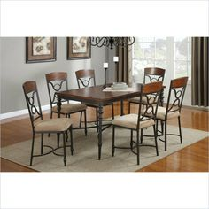 Coaster 7 Piece Dining Set with Metal Base in Cherry - 12085X-7Pc-PKG - Lowest price online on all Coaster 7 Piece Dining Set with Metal Base in Cherry - 12085X-7Pc-PKG