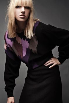 Vintage 80s Sweater Dress Santana Knit Adolfo Black Purple Paint Strokes Abstract Midi Batwing ONE SIZE to L (up to 44 Hips)