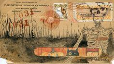 Halloween original mail art envelope by eyefun on Etsy, $80.00