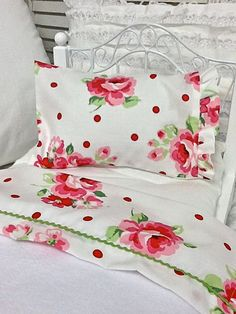 American Girl 18 inch Doll Bedding Shabby Style Sheet set with Pillow and fleece blanket via Etsy