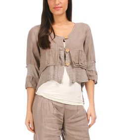 Look at this Mole Linen Crop Jacket - Women on #zulily today!