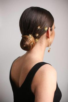Kelly Spence Starlight & Starburst hairpins & Halle earrings. Hair by Kasia Fortuna Photo by Kristina Gasperas