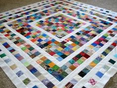 What a beautiful way to use up scraps! Make rectangular to fit bed