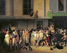 The Entrance of the Ambigu-Comique Theatre for a Free Performance, oil on canvas, 1819. Louis Leopold Boilly