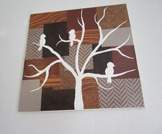 birds on tree branch painting over decoupaged canvas by tanyagrub, $30.00