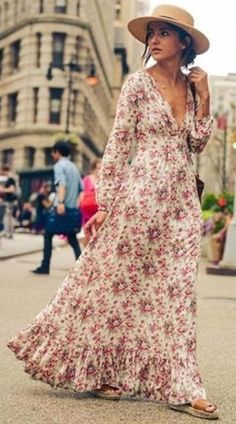 Red Plunging Long Sleeves Floral Maxi Dress