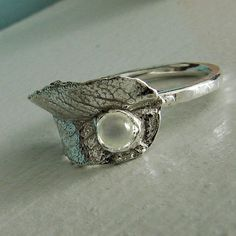 Moonstone Ring Silver Leaf Ring Leaf Wrap Ring by OneLoomStudio, $125.00