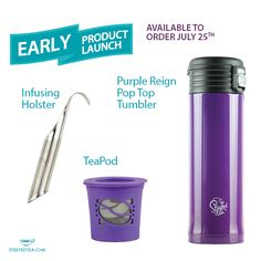 We've decided to roll out our three new hardware items EARLY! The Infusing Holster, Tea Pod and Purple Reign Pop Top Tumbler are available to order NOW! www.steepedtea.com/monthly-specials