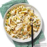 Creamy Lemon Sauce with Egg Pasta, Corn, Leeks & Peas