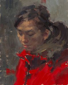 Anna Red Jacket,  oil on canvas,  20in X 16in by Aaron Coberly