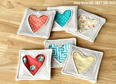 10 Fabric Heart Coasters Valentine's Day