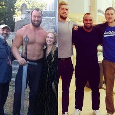So this is Hafþór Júlíus Björnsson. On the left, he's on the set of Game of Thrones. On the right, with his brothers. He's the smallest one. Can you imagine what their poor mom had to do to keep those boys fed when they were teenagers? Best Funny Pictures, Funny Photos, Funny Images, Kevin Hart The Rock, Giant People, Normal People, Mountain Games, World's Strongest Man, Haha