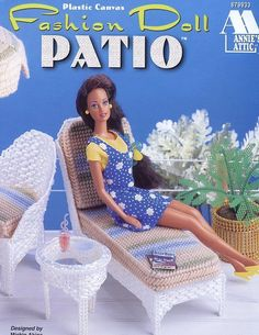 Fashion Doll Patio Furniture for Barbie Annie's Plastic Canvas Pattern RARE picclick.com