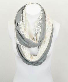 Gray & White Lace Mix Infinity Scarf