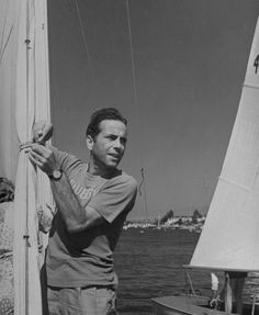 Humphrey Bogart on his sailboat at the Newport Yacht Club, California 1943. Photo by John Florea.