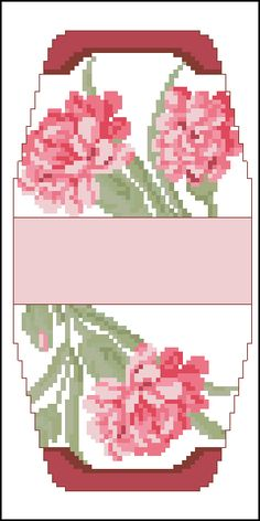 Cross-stitch Carnations purse pattern... no color chart available, just use pattern chart as your color guide.. or choose your own colors..