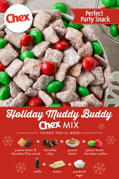 Add all the peanut butter to this take on our classic Muddy Buddies™ recipe. Using Peanut Butter Chex, Chocolate Chex and peanut butter chocolate candies, you have double the peanut butter fun in this colorful mix. treats Buddy The Elf™ Muddy Mix Easy Holiday Recipes, Holiday Snacks, Christmas Party Food, Christmas Cooking, Christmas Recipes, Christmas Candy, Christmas Chocolate, Christmas Chex Mix, Easy Christmas Cookies