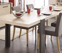 Table de salle à manger couleur pin et effet béton contemporaine ATELIER…