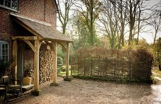Porch and log store Porch Uk, Cottage Porch, House With Porch, My House, Side Porch, Future House, Hotel Interiors, Rustic Interiors, Wood Store