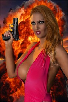 Leigh Darby is armed and dangerous #RackAttack #Gun #Explosion #Cleavage #Hot