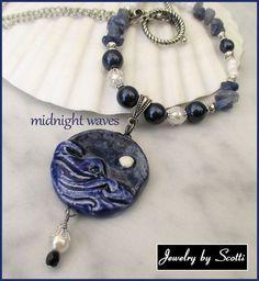 Moonlight Ocean Ceramic Pendant Necklace // by JewelryByScotti
