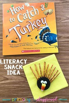 Have you read How to Catch a Turkey? It's such a silly book that keeps the kids laughing. Grab our free printable and snack idea to go along with the book. thanksgiving Literacy Snack Idea Catch A Turkey + Free Printable