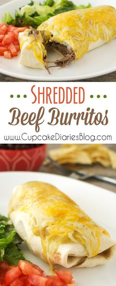 Shredded Beef Burritos - Easy restaurant-style burritos made at home!