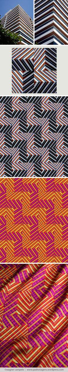 Creative process for prints from photos   Diagonal Chevron pattern.