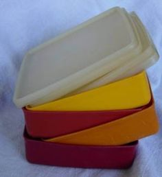 Tupperware Sandwich Keepers Red Yellow Orange Yellow Vintage Set of 4